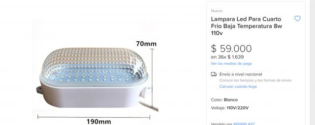 lamparas led para cuartos frios